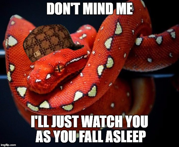 Jesus snakes scorpions | DON'T MIND ME I'LL JUST WATCH YOU AS YOU FALL ASLEEP | image tagged in jesus snakes scorpions,scumbag | made w/ Imgflip meme maker