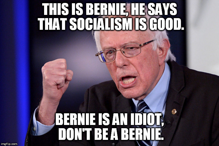 Socialist Bernie | THIS IS BERNIE, HE SAYS THAT SOCIALISM IS GOOD. BERNIE IS AN IDIOT, DON'T BE A BERNIE. | image tagged in bernie sanders,moron,idiot,socialism | made w/ Imgflip meme maker