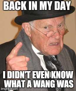 Back In My Day Meme | BACK IN MY DAY I DIDN'T EVEN KNOW WHAT A WANG WAS | image tagged in memes,back in my day | made w/ Imgflip meme maker