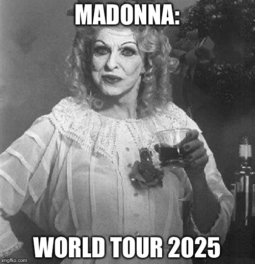 When you forget the cover up | MADONNA: WORLD TOUR 2025 | image tagged in madonna strike a pose | made w/ Imgflip meme maker