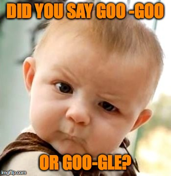 They Kinda Sound the Same :-P | DID YOU SAY GOO -GOO OR GOO-GLE? | image tagged in goo | made w/ Imgflip meme maker
