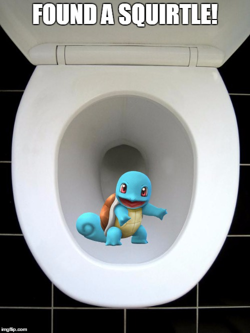 When you gota go, you gotta go. | FOUND A SQUIRTLE! | image tagged in toilet,pokemon week | made w/ Imgflip meme maker