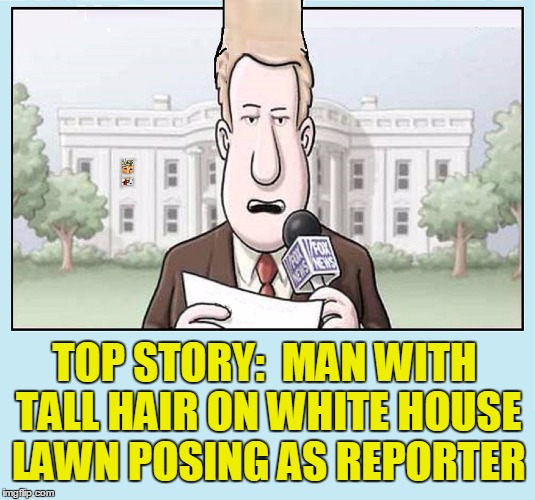 Breaking News | TOP STORY:  MAN WITH TALL HAIR ON WHITE HOUSE LAWN POSING AS REPORTER | image tagged in vince vance,president donald trump,white house,fox news,reporter with tall hair,april fools day | made w/ Imgflip meme maker