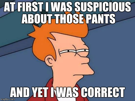 Futurama Fry Meme | AT FIRST I WAS SUSPICIOUS ABOUT THOSE PANTS AND YET I WAS CORRECT | image tagged in memes,futurama fry | made w/ Imgflip meme maker