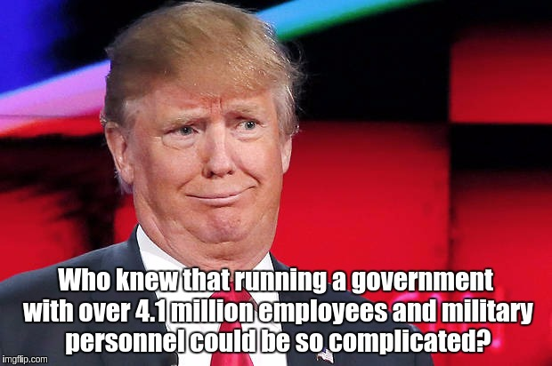 Who knew that running a government with over 4.1 million employees and military personnel could be so complicated? | image tagged in trump another stupid look on his face | made w/ Imgflip meme maker