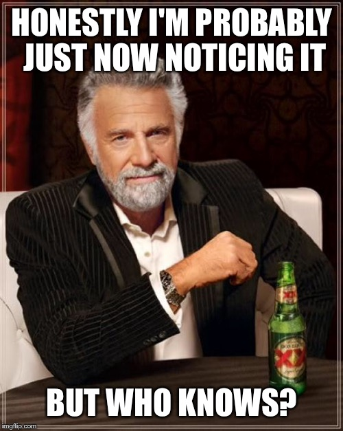 The Most Interesting Man In The World Meme | HONESTLY I'M PROBABLY JUST NOW NOTICING IT BUT WHO KNOWS? | image tagged in memes,the most interesting man in the world | made w/ Imgflip meme maker