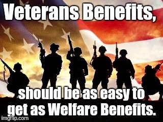 veterans day | Veterans Benefits, should be as easy to get as Welfare Benefits. | image tagged in veterans day | made w/ Imgflip meme maker