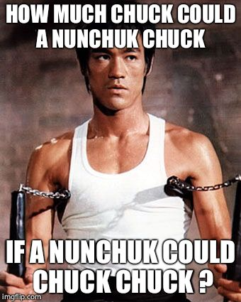 Bruce Lee | HOW MUCH CHUCK COULD A NUNCHUK CHUCK IF A NUNCHUK COULD CHUCK CHUCK ? | image tagged in bruce lee | made w/ Imgflip meme maker