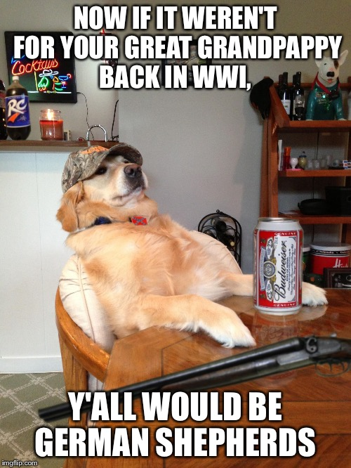 redneck retriever | NOW IF IT WEREN'T FOR YOUR GREAT GRANDPAPPY BACK IN WWI, Y'ALL WOULD BE GERMAN SHEPHERDS | image tagged in redneck retriever | made w/ Imgflip meme maker