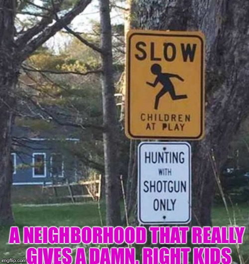 Ya, I like to think how compelling the irony is with these two signs, wow! | A NEIGHBORHOOD THAT REALLY GIVES A DAMN, RIGHT KIDS | image tagged in weakest link | made w/ Imgflip meme maker