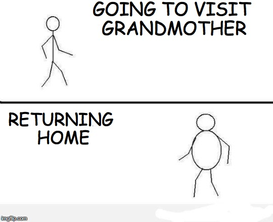 Who Else? | GOING TO VISIT GRANDMOTHER RETURNING HOME | image tagged in grandma | made w/ Imgflip meme maker