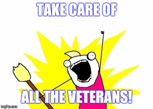 X All The Y Meme | TAKE CARE OF ALL THE VETERANS! | image tagged in memes,x all the y | made w/ Imgflip meme maker