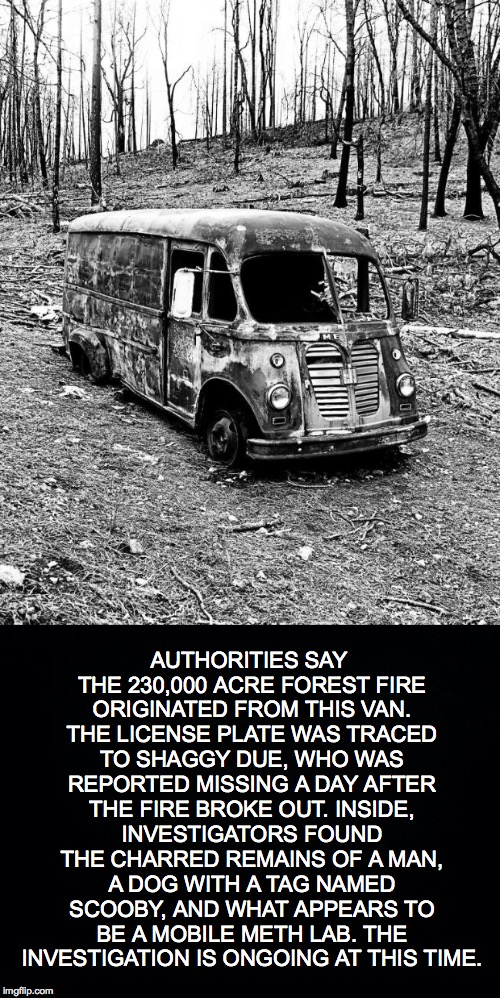 It's The First of April | AUTHORITIES SAY THE 230,000 ACRE FOREST FIRE ORIGINATED FROM THIS VAN. THE LICENSE PLATE WAS TRACED TO SHAGGY DUE, WHO WAS REPORTED MISSING  | image tagged in scooby,shaggy,mobile meth lab,fire,forest fire | made w/ Imgflip meme maker