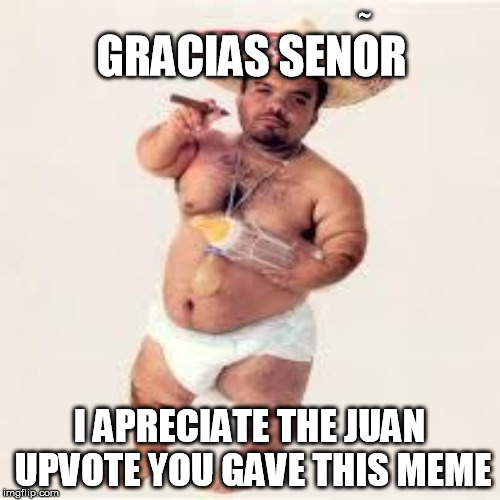 GRACIAS SENOR I APRECIATE THE JUAN UPVOTE YOU GAVE THIS MEME ~ | made w/ Imgflip meme maker