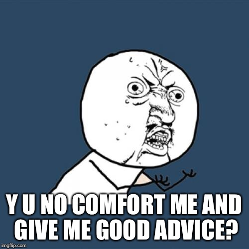 Y U No Meme | Y U NO COMFORT ME AND GIVE ME GOOD ADVICE? | image tagged in memes,y u no | made w/ Imgflip meme maker