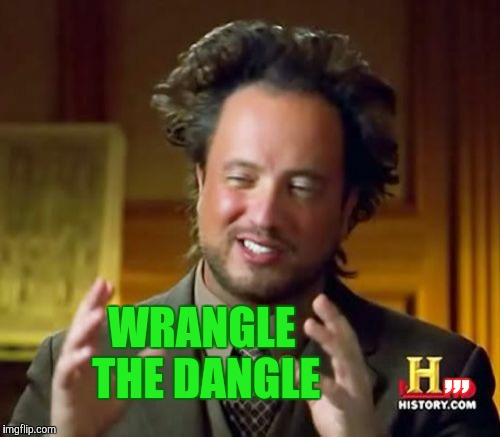 Ancient Aliens Meme | ,,, WRANGLE THE DANGLE | image tagged in memes,ancient aliens | made w/ Imgflip meme maker