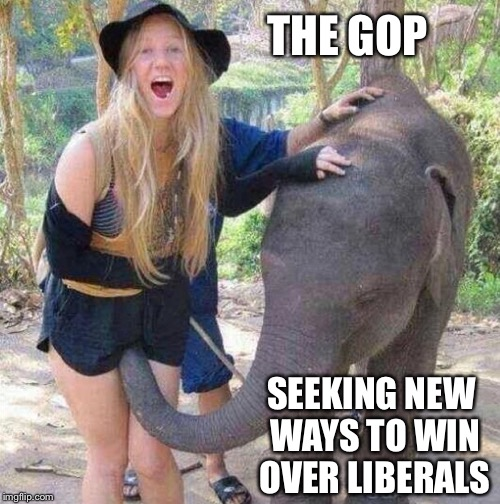 One way or another, the GOP is seeking change, they can sniff victory | THE GOP SEEKING NEW WAYS TO WIN OVER LIBERALS | image tagged in funny | made w/ Imgflip meme maker