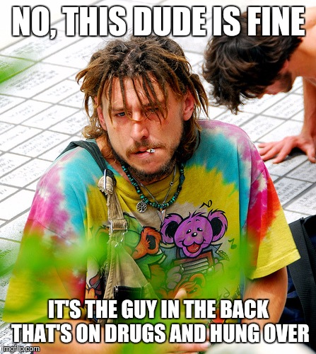 Stoner PhD | NO, THIS DUDE IS FINE IT'S THE GUY IN THE BACK THAT'S ON DRUGS AND HUNG OVER | image tagged in memes,stoner phd | made w/ Imgflip meme maker