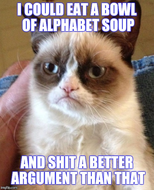 Angry Cat | I COULD EAT A BOWL OF ALPHABET SOUP AND SHIT A BETTER ARGUMENT THAN THAT | image tagged in angry cat | made w/ Imgflip meme maker