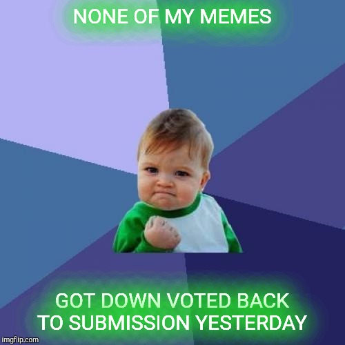 Success Kid Meme | NONE OF MY MEMES GOT DOWN VOTED BACK TO SUBMISSION YESTERDAY | image tagged in memes,success kid | made w/ Imgflip meme maker