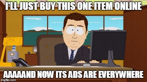 I just bought that, Internet | I'LL JUST BUY THIS ONE ITEM ONLINE AAAAAND NOW ITS ADS ARE EVERYWHERE | image tagged in memes,aaaaand its gone | made w/ Imgflip meme maker