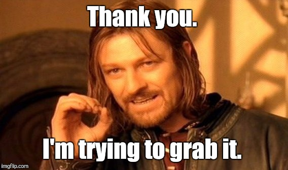 One Does Not Simply Meme | Thank you. I'm trying to grab it. | image tagged in memes,one does not simply | made w/ Imgflip meme maker