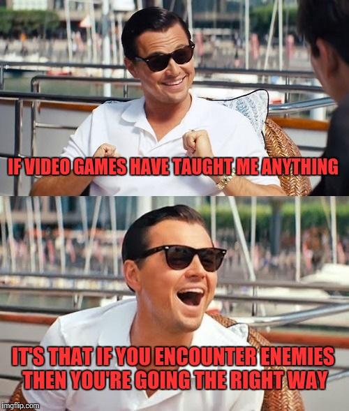 Leonardo Dicaprio Wolf Of Wall Street Meme | IF VIDEO GAMES HAVE TAUGHT ME ANYTHING IT'S THAT IF YOU ENCOUNTER ENEMIES THEN YOU'RE GOING THE RIGHT WAY | image tagged in memes,leonardo dicaprio wolf of wall street | made w/ Imgflip meme maker