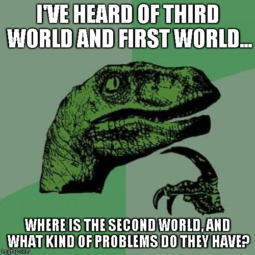 Philosoraptor Meme | I'VE HEARD OF THIRD WORLD AND FIRST WORLD... WHERE IS THE SECOND WORLD, AND WHAT KIND OF PROBLEMS DO THEY HAVE? | image tagged in memes,philosoraptor | made w/ Imgflip meme maker