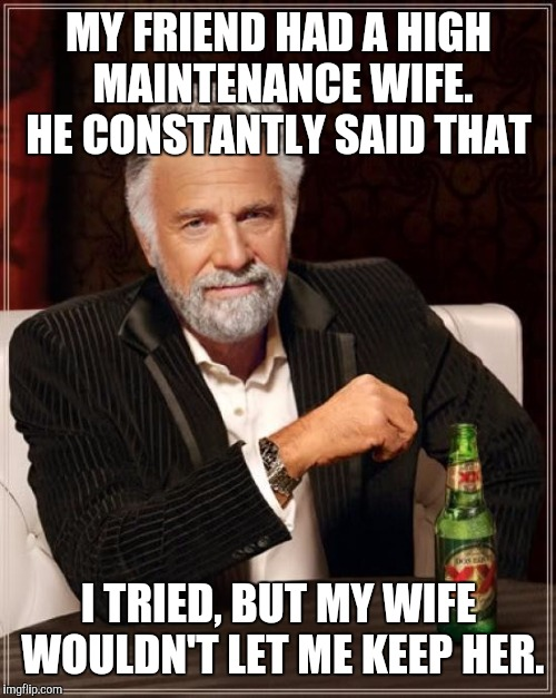 The Most Interesting Man In The World Meme | MY FRIEND HAD A HIGH MAINTENANCE WIFE. HE CONSTANTLY SAID THAT I TRIED, BUT MY WIFE WOULDN'T LET ME KEEP HER. | image tagged in memes,the most interesting man in the world | made w/ Imgflip meme maker