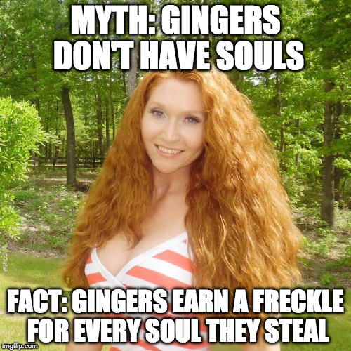 Let's clear this up. | MYTH: GINGERS DON'T HAVE SOULS FACT: GINGERS EARN A FRECKLE FOR EVERY SOUL THEY STEAL | image tagged in ginger,fact,myth,soul,bacon | made w/ Imgflip meme maker