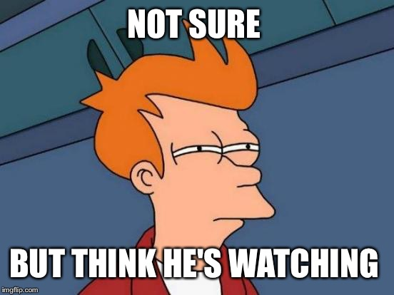 Futurama Fry Meme | NOT SURE BUT THINK HE'S WATCHING | image tagged in memes,futurama fry | made w/ Imgflip meme maker