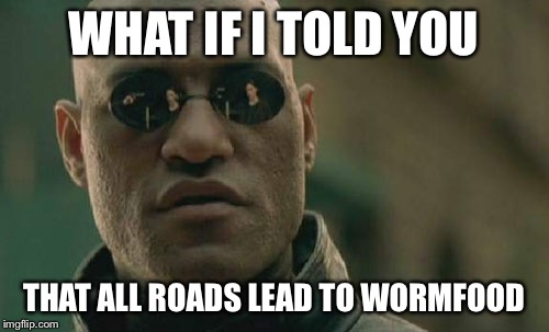 Matrix Morpheus Meme | WHAT IF I TOLD YOU THAT ALL ROADS LEAD TO WORMFOOD | image tagged in memes,matrix morpheus | made w/ Imgflip meme maker