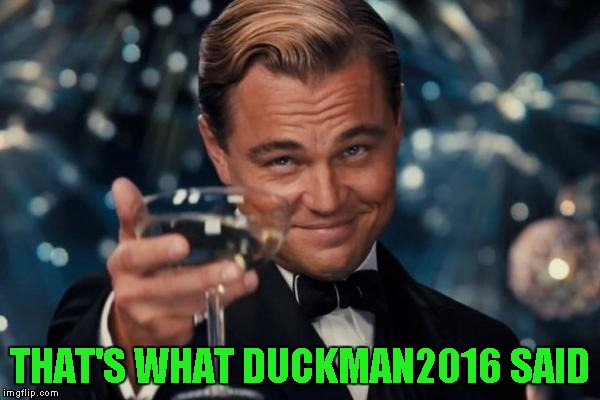 Leonardo Dicaprio Cheers Meme | THAT'S WHAT DUCKMAN2016 SAID | image tagged in memes,leonardo dicaprio cheers | made w/ Imgflip meme maker