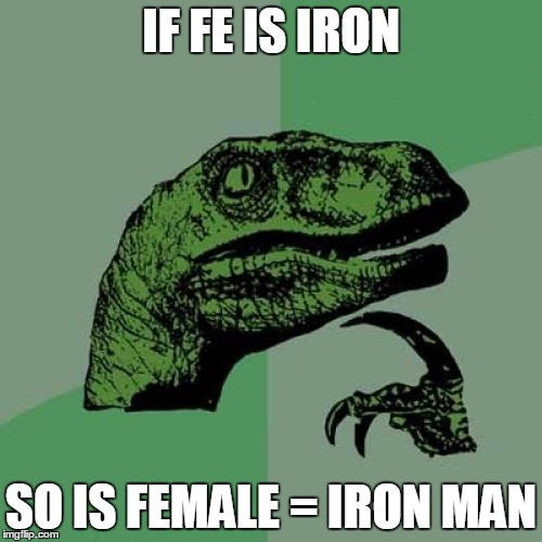 Philosoraptor Meme | IF FE IS IRON SO IS FEMALE = IRON MAN | image tagged in memes,philosoraptor | made w/ Imgflip meme maker