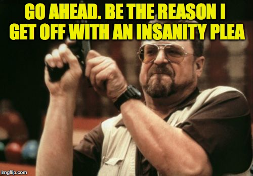 Am I The Only One Around Here Meme | GO AHEAD. BE THE REASON I GET OFF WITH AN INSANITY PLEA | image tagged in memes,am i the only one around here | made w/ Imgflip meme maker