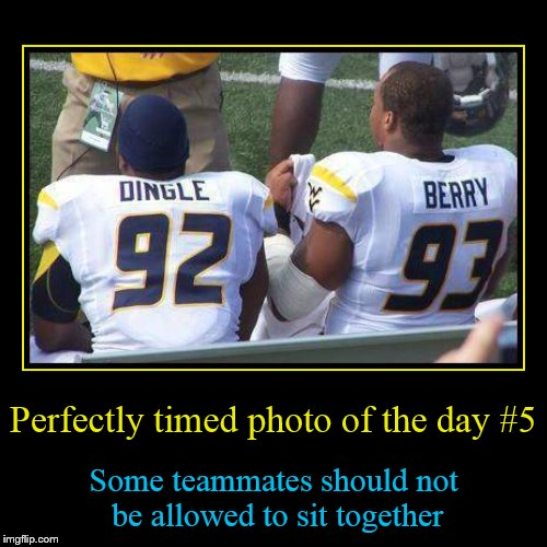 Perfectly timed photo #5 | Perfectly timed photo of the day #5 | Some teammates should not be allowed to sit together | image tagged in funny,demotivationals,perfectly timed photo | made w/ Imgflip demotivational maker