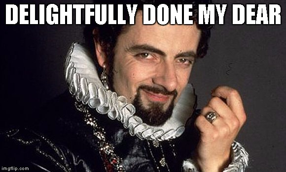 Black Adder | DELIGHTFULLY DONE MY DEAR | image tagged in black adder | made w/ Imgflip meme maker