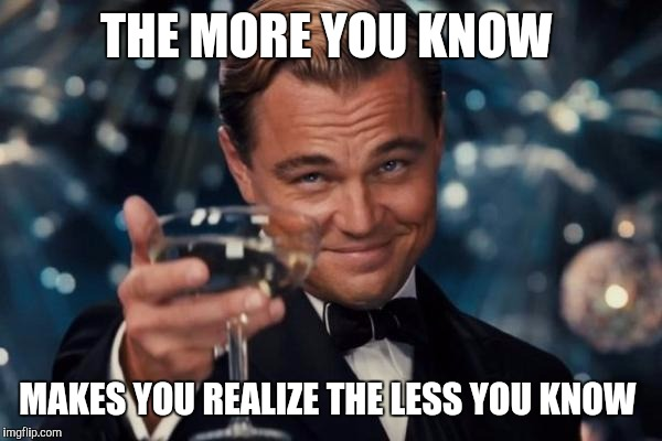 Leonardo Dicaprio Cheers Meme | THE MORE YOU KNOW MAKES YOU REALIZE THE LESS YOU KNOW | image tagged in memes,leonardo dicaprio cheers | made w/ Imgflip meme maker