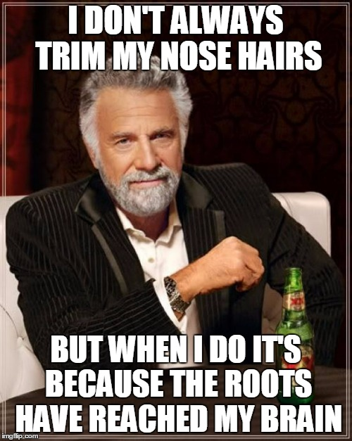 The Most Interesting Man In The World Meme | I DON'T ALWAYS TRIM MY NOSE HAIRS BUT WHEN I DO IT'S BECAUSE THE ROOTS HAVE REACHED MY BRAIN | image tagged in memes,the most interesting man in the world | made w/ Imgflip meme maker