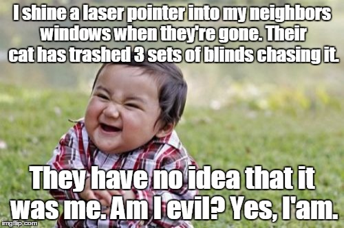 Evil Toddler Meme | I shine a laser pointer into my neighbors windows when they're gone. Their cat has trashed 3 sets of blinds chasing it. They have no idea th | image tagged in memes,evil toddler | made w/ Imgflip meme maker