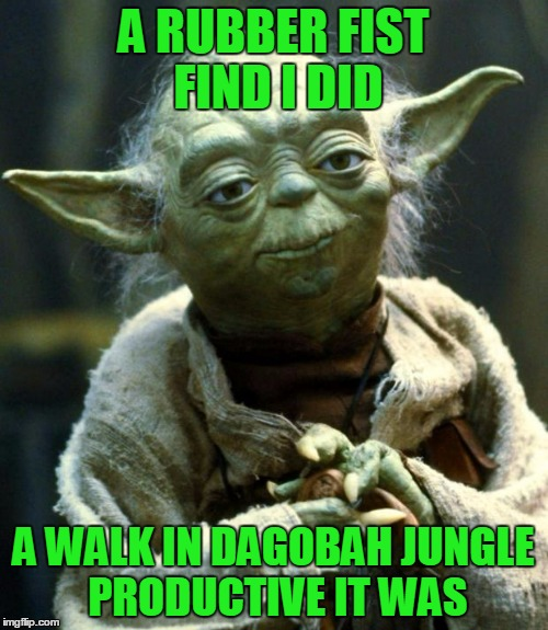 Star Wars Yoda Meme | A RUBBER FIST FIND I DID A WALK IN DAGOBAH JUNGLE PRODUCTIVE IT WAS | image tagged in memes,star wars yoda | made w/ Imgflip meme maker