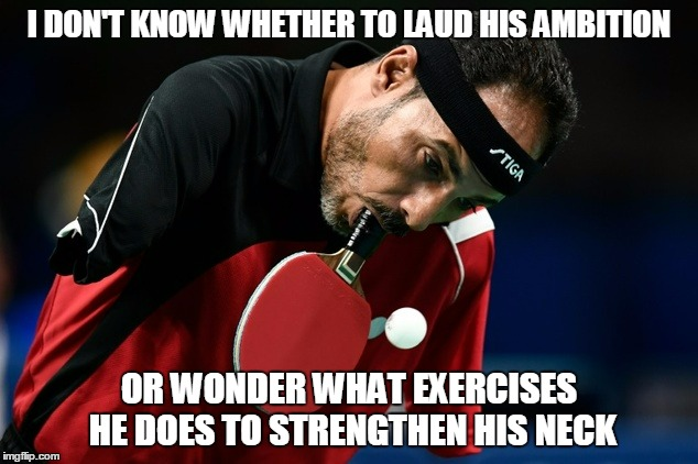I DON'T KNOW WHETHER TO LAUD HIS AMBITION OR WONDER WHAT EXERCISES HE DOES TO STRENGTHEN HIS NECK | made w/ Imgflip meme maker