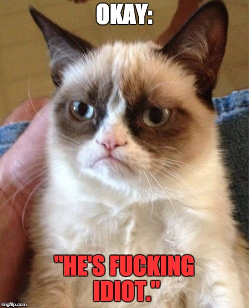 "OKAY: ""HE'S F**KING IDIOT."" 