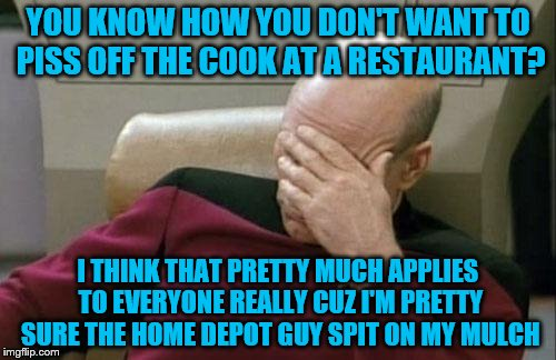Captain Picard Facepalm Meme | YOU KNOW HOW YOU DON'T WANT TO PISS OFF THE COOK AT A RESTAURANT? I THINK THAT PRETTY MUCH APPLIES TO EVERYONE REALLY CUZ I'M PRETTY SURE TH | image tagged in memes,captain picard facepalm | made w/ Imgflip meme maker