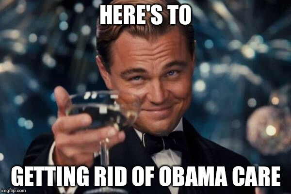 Leonardo Dicaprio Cheers Meme | HERE'S TO GETTING RID OF OBAMA CARE | image tagged in memes,leonardo dicaprio cheers | made w/ Imgflip meme maker