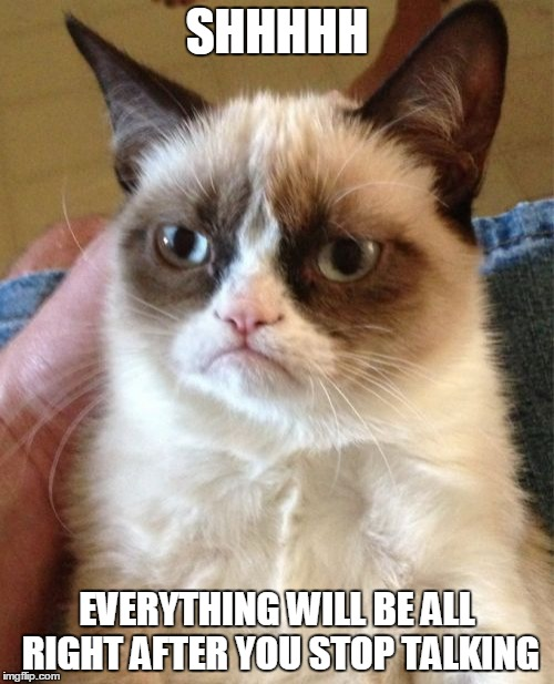 Life Advice from Grumpy Cat (ง︡'-'︠)ง |  SHHHHH; EVERYTHING WILL BE ALL RIGHT AFTER YOU STOP TALKING | image tagged in memes,grumpy cat,life advice,shhhh,stop talking | made w/ Imgflip meme maker