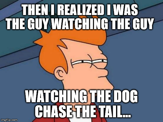 Futurama Fry Meme | THEN I REALIZED I WAS THE GUY WATCHING THE GUY WATCHING THE DOG CHASE THE TAIL... | image tagged in memes,futurama fry | made w/ Imgflip meme maker