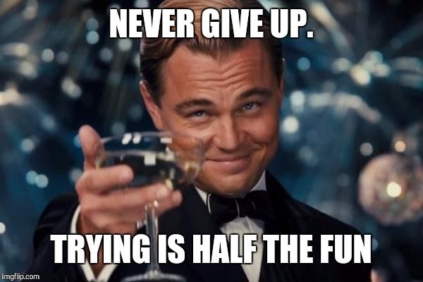 Leonardo Dicaprio Cheers Meme | NEVER GIVE UP. TRYING IS HALF THE FUN | image tagged in memes,leonardo dicaprio cheers | made w/ Imgflip meme maker