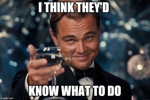 Leonardo Dicaprio Cheers Meme | I THINK THEY'D KNOW WHAT TO DO | image tagged in memes,leonardo dicaprio cheers | made w/ Imgflip meme maker