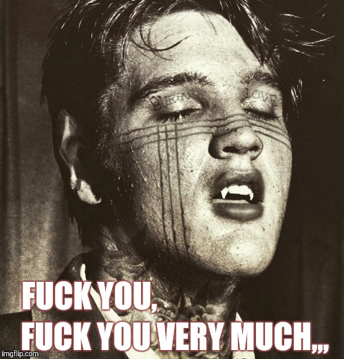 Elvis Vampire | F**K YOU, F**K YOU VERY MUCH,,, | image tagged in elvis vampire | made w/ Imgflip meme maker